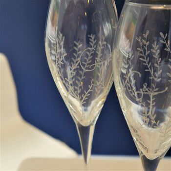Personalised Hand Engraved Pair Of Champagne Flutes