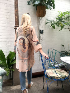 Illustrated Silk Kimono Jacket 'Mirage' Print