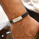 Personalised Mens Bracelet With Leather Woven Strap