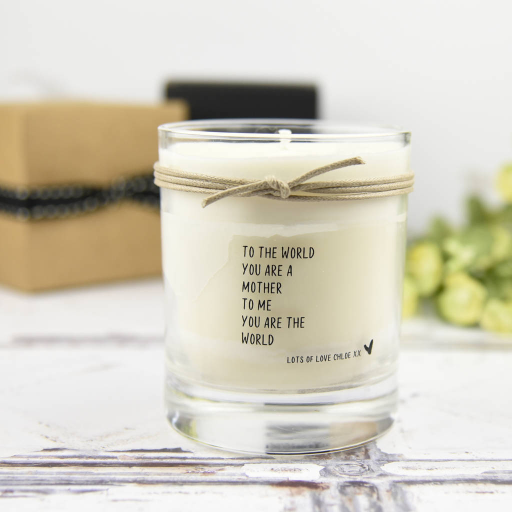 Personalised Scented Candle Mum You Re My World By Dotty Dora Designs Notonthehighstreet Com