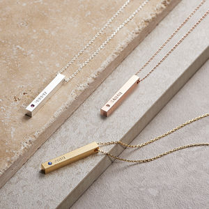 Personalised Swarovski Birthstone Bar Necklace - top 100 gifts