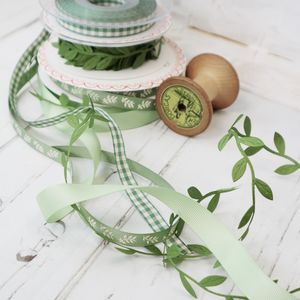 Leaf Green Ribbon Collection For Gift Wrapping
