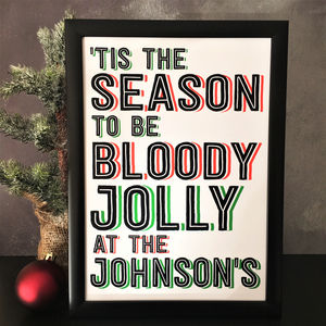 'Tis The Season' Funny Christmas Personalised A4 Print - posters & prints