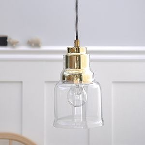 Glass And Gold Pendant Light - ceiling lights