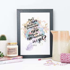 Anne Of Green Gables Inspirational Watercolour Print - film & tv