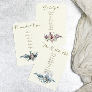 Christmas Wedding Seating Plan Cards - table plans