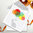 Elephant And Balloons Greetings Card
