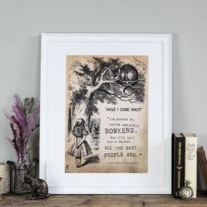 Alice In Wonderland 'Bonkers' Poster Print - 21st birthday gifts