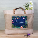 Personalised Tropical Pocket Jute Shopper Bag
