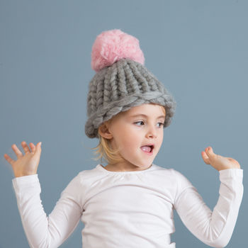 Diy Pompom Hat Knitting Kit