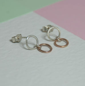 Silver And Rose Gold Studs