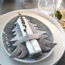 Grey Felt Tree Shaped Christmas Napkin Holders