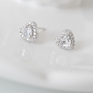 Sterling Silver Heart Crystal Stud Earrings