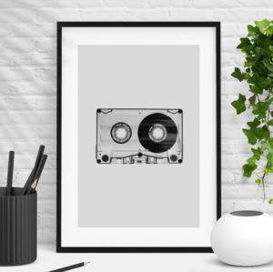Vintage 1980s Cassette Print In Black White