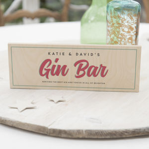Personalised Wooden Gin Bar Sign - room decorations