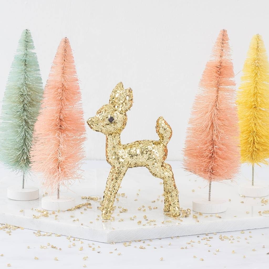 Personalised Glitter Fawn Christmas Decoration