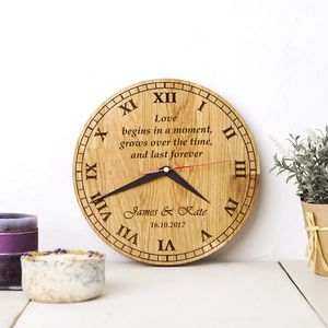 Personalised Oak Wood Clock - office & study