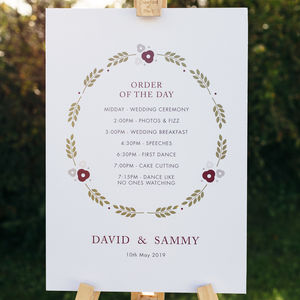 Personalised Order Of The Day Wedding Sign