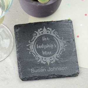 Her Ladyships Personalised Slate Wine Coaster - kitchen