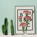 Personalised Carnations Botanical Flower Print