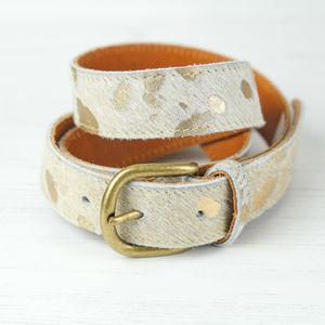 Leather Metallic Cow Hide Belt Natural Gold - belts