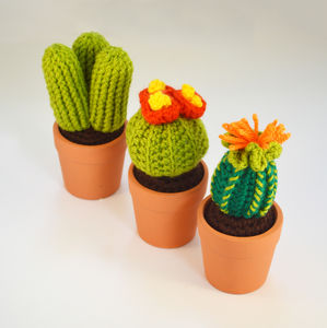 Crocheted Amigurumi Cactus Trio Of Pots