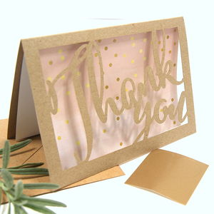 Thank You Gold Dotty Eco Craft Laser Cut Card - thank you cards
