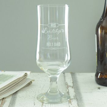 Personalised Lordships Engraved Beer Glass