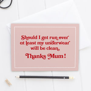 Mother's Day Card Clean Underwear Lesson