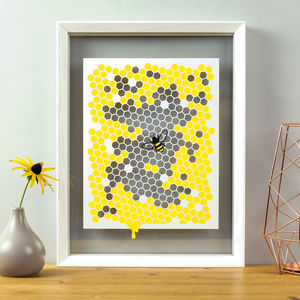 Bee Honeycomb Papercut - pictures & prints for children