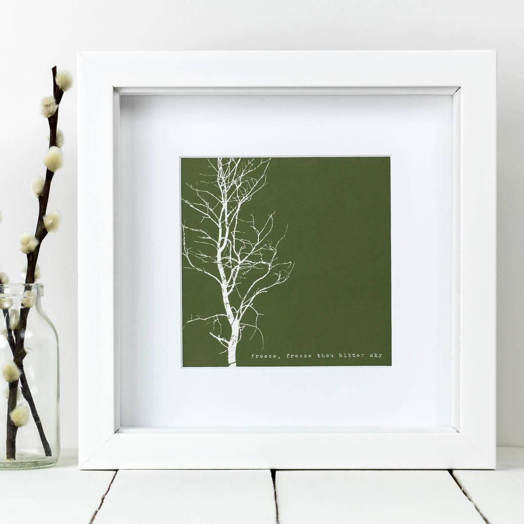 Framed 'Freeze, Freeze Thou Bitter Sky' Tree Print