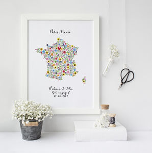 Personalised Floral Map Of France Print - travel-inspired wedding gifts