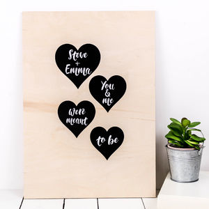 Personalised A3 Wooden 'Meant To Be' Print
