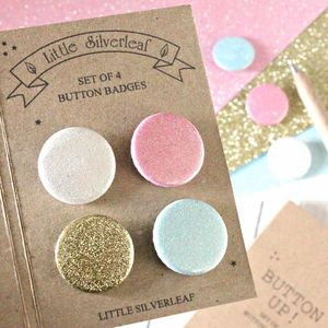 Set Of Four Glitter Badges, Any Four Colours - bag charms
