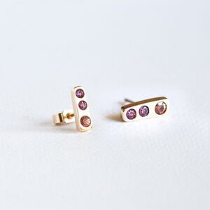 Box Of Light Gold, Ruby And Sapphire Stud Earrings