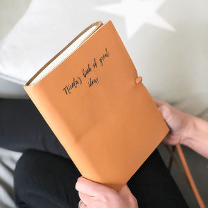 Personalised Hand Made Leather Journal - 3rd anniversary: leather