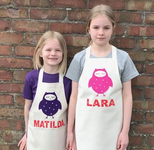 Personalised Owl Apron Set For Adult And Child - children's cooking