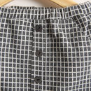 Checked Trousers Charcoal - Button Detail