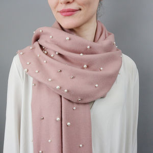 Gun Metal Pearl And Cashmere Shawl - scarves