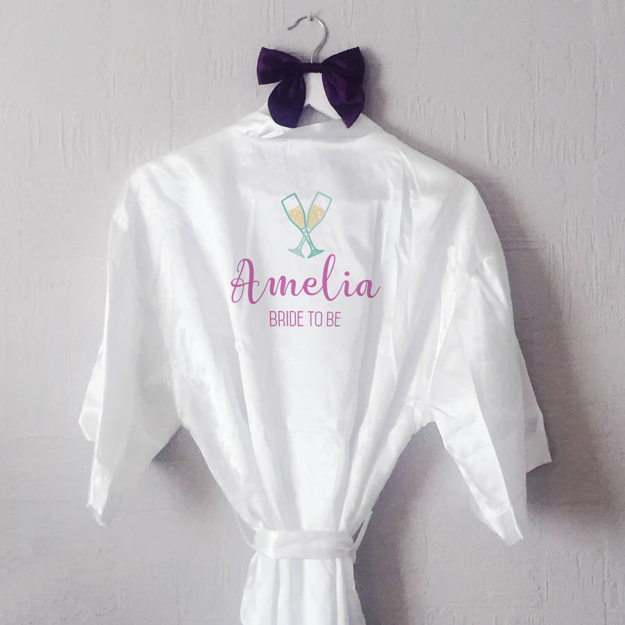 8aeddd444 personalised prosecco glass bride robe / dressing gown by sarah ...