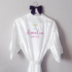 Personalised Prosecco Glass Bride Robe / Dressing Gown - more