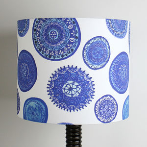 Blue And White Porto Plates Handmade Lampshade - bedroom