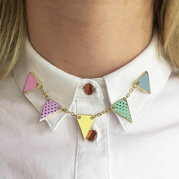 Bunting Enamel Pin Set In Pastel Or Bright Colours