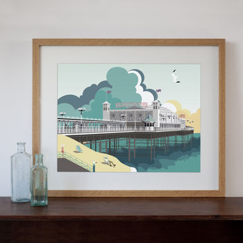 Modern Retro Art Print Of Brighton Pier, Brighton, UK