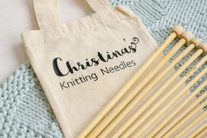 Bamboo Knitting Needles Set In Personalised Bag
