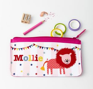 Girls Personalised Circus Lion Pencil Case