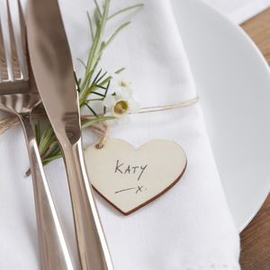 Natural Wooden Heart Shaped Wedding Tags