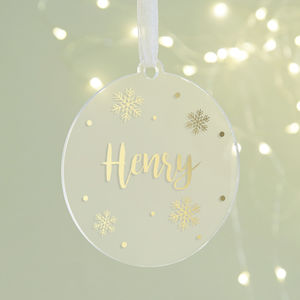 Personalised Christmas Bauble Foil Snowflake