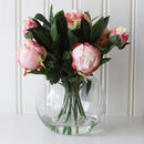 Artificial Pink Peony Arrangement In Globe Vase