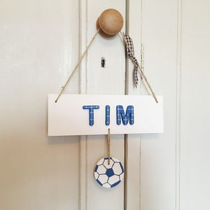 Personalised Name Sign Door Plaque With Football